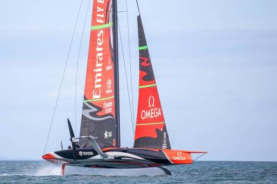 Emirates Team New Zealand Boat Te Aihe flying through the water